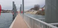 Floating pier on the river Saône